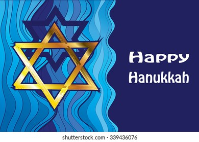 Happy Hanukkah greeting gold David star. Vector illustration Jewish Holiday - gold star and greeting text on dark blue background. Horizontal Hanukkah wallpaper, banner, invite. For Jewish New Year.