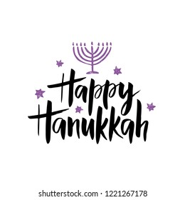 Happy Hanukkah hand drawn lettering typography with menorah. Jewish holiday. Festive poster design. Template for banner, greeting card, flyer. Vector illustration