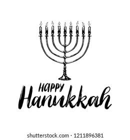 Happy Hanukkah hand lettering. Festive poster, greeting card template with Menorah illustration. Judaic religion symbol in vector.