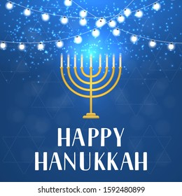 Happy Hanukkah hand lettering with string lights and menorah candle on blue background. Vector template for Jewish holiday greeting card, banner, celebration poster, flyer, postcard, invitation, etc.
