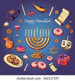 Happy Hanukkah holiday greeting background - Hanukah, Purim, Pesach, Sukot, Rosh-Hashanah, Shavuot, Simhat-Torah. With candlestick, star of David, torah, menorah, dreidel and gifts