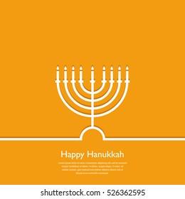 Happy Hanukkah. Holiday religion, jewish festival of Lights. Hanukkah menorah outline greeting card, template, banner. Minimal vector illustration. Flat design. Eps10
