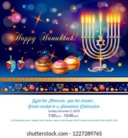Happy Hanukkah invitation card with traditional Jewish Holiday Hanuka festival of lights symbols. Chanukah Menorah candelabrum candles, wood dreidel, chanuka donuts on festive bokeh lights background.