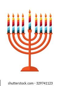 happy Hanukkah, Jewish holiday. Hanukka menorah isolated on white