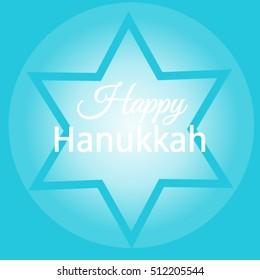 Happy Hanukkah. Jewish holiday. Hanukkah Menorah on Light Blue Background