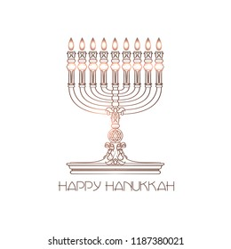 Happy Hanukkah. Jewish holiday. Vector elegant greeting card with linear detailed menorah isolated on white background.