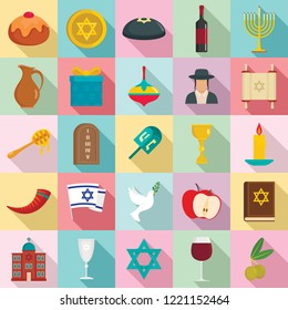 Happy hanukkah judaism kwanzaa icon set. Flat set of happy hanukkah judaism kwanzaa vector icons for web design
