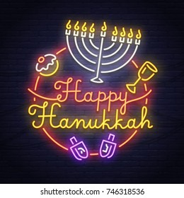 Happy Hanukkah neon sign. Neon sign. Hanukkah banner, logo, emblem and label. Bright signboard, light banner.