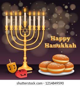 Happy hanukkah night concept background. Realistic illustration of happy hanukkah night vector concept background for web design