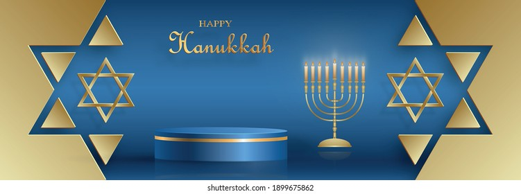 Happy Hanukkah podium round stage with nice and creative symbols and gold paper cut style on color background for Hanukkah Jewish holiday