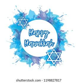 Happy Hanukkah poster with blue watercolor splash background. Jewish holiday. Vector illustration.