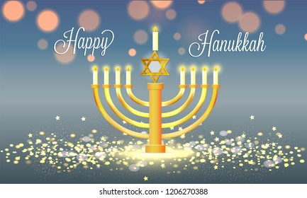 Happy Hanukkah poster or greeting card design with traditional candelabrum on glossy blurred background.