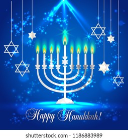 Happy Hanukkah Shining Background with Menorah, David Star and Bokeh Effect. Vector illustration on blue.