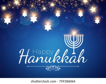 Happy Hanukkah Shining Background with Menorah, David Star and Bokeh Effect. Vector illustration