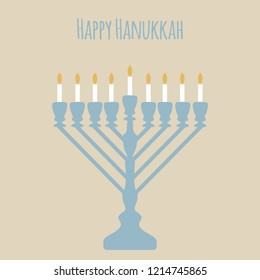 Happy Hanukkah with subtle colors. Jewish Festival of Lights celebration, festive background with menorah symbol. Happy Hanukkah holiday greeting card template design element. Vector illustration