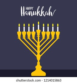 Happy Hanukkah - written above a menorah with white candles on purple background