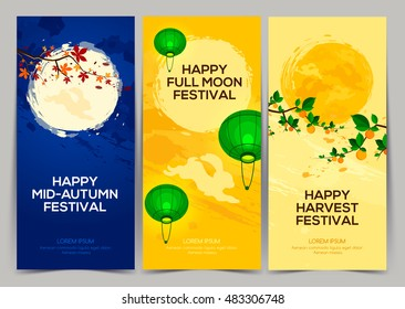 Happy harvest mid autumn festival, three banners with full moon with branch persimmon, chestnut tree, rabbits and lantern.