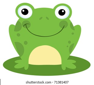 Happy Head Frog Cartoon Character
