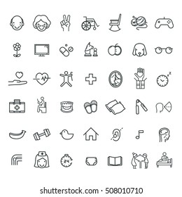 happy and healthy aging thin line flat icon set