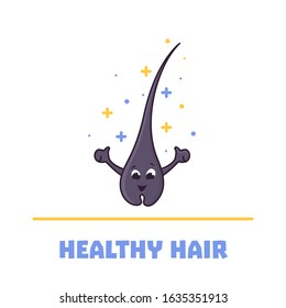 Happy healthy hair follicle cartoon character in good condition. Removal, treatment and transplantation concept. Trichology medical vector illustration.