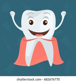 Happy and healthy tooth color flat icon for web abd mobile design