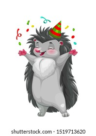 Happy hedgehog celebrating with confetti and striped party hat vector character. Cartoon forest animal with gray spines and cute smiling face, children greeting card, wildlife or zoo mascot design