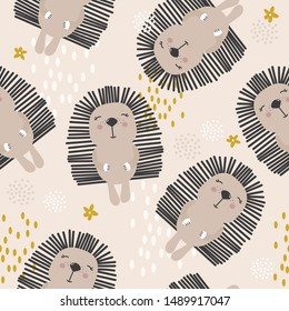 Happy hedgehogs, hand drawn backdrop. Colorful seamless pattern with animals. Decorative cute wallpaper, good for printing. Overlapping background vector. Design illustration