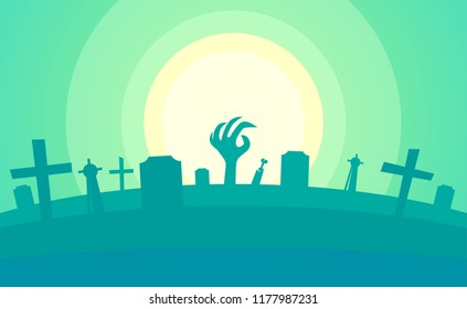 Happy Helloween - Creepy Backdrop with Graveyard and Scary but Beautiful Environment in Cartoon Flat Style with Copy Space.
