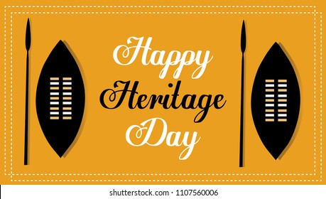 Happy Heritage Day Zulu Shield And Spear