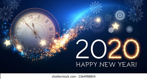 Happy Hew 2020 Year! Clock, Fileworks, Lights and Bokeh Effect.