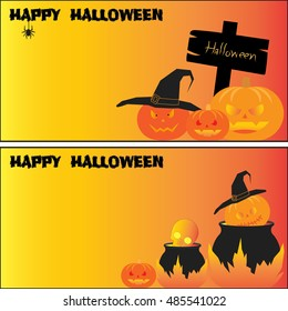 happy HHalloween vector collection set pumpkin card backgrounds