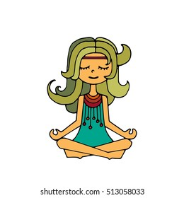 Happy hippie girl, bright colored handdrawn vector. Love and peace illustration. Meditation theme