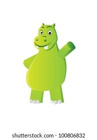 Happy hippo waving