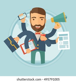 Happy hipster caucasian businessman with many hands holding papers, briefcase, mobile phone. Multitasking and productivity concept. Vector flat design illustration in the circle isolated on background