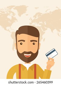 A happy hipster Caucasian businessman thankfully standing holding his credit card. Fulfillment concept. A contemporary style with pastel palette, beige tinted background. Vector flat design