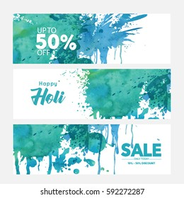 Happy Holi 50% off banner promotional background, eps10