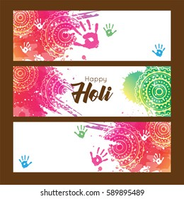 Happy Holi  abstrac colorful background with text card, banner , web banner, eps10