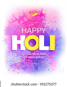 Happy Holi background with greeting. Vector illustration.
