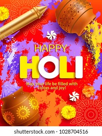 Happy Holi background with gulal, pichkari and greeting. Vector illustration.