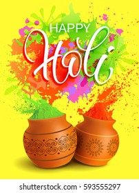 Happy Holi background with lettering. Vector illustration.