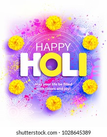 Happy Holi background with Rangoli, zendu flowers and greeting. Vector illustration.