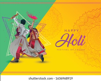 happy holi background with traditional Indian couple vector