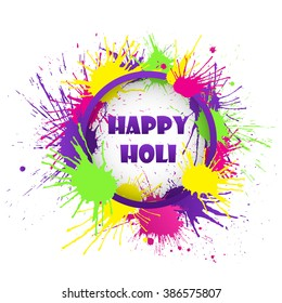 Happy Holi banner with colorful splashes. Vector illustration.