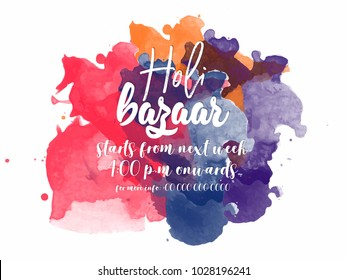 Happy Holi Bazaar Illustration Background for poster, flyers and banners