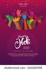 happy holi. Beautiful greeting card. hand illustration celebrating the Holi festival. Can be used for banner templates, decoration elements, posters, calendars, and invitations