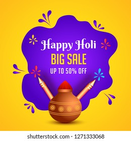 Happy Holi Big Sale poster or template design with 50% discount offer for festival celebration concept.