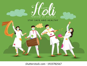 happy Holi. Cartoon Young people Playing Holi On White costume . vector illustration design. covid-19 corona virus concept - Shutterstock ID 1923782567