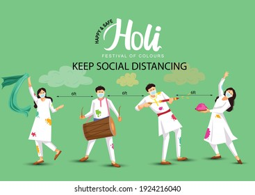 happy Holi. Cartoon Young people Playing Holi On White costume . vector illustration design. covid-19 corona virus concept - Shutterstock ID 1924216040