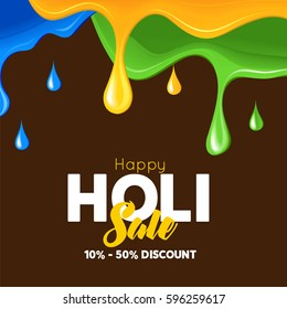 Happy Holi Celebrate festival abstrac brown background banner . Indian Holi festival of colours,eps10