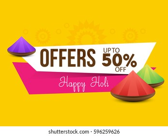 Happy Holi Celebrate festival abstrac yellow background with 50% off offers. Indian Holi festival of colours,eps10